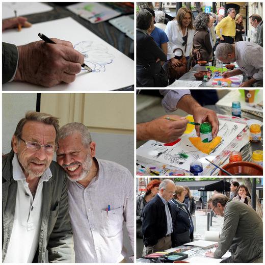'Action-painting' FLORES PARA EL GAYA, de la mano de los pintores Severo Almansa y Willy Ramos.