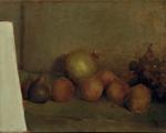 Higos, melocotones y uvas. 1948. Óleo/lienzo. 34,7 x 44,7 cm.